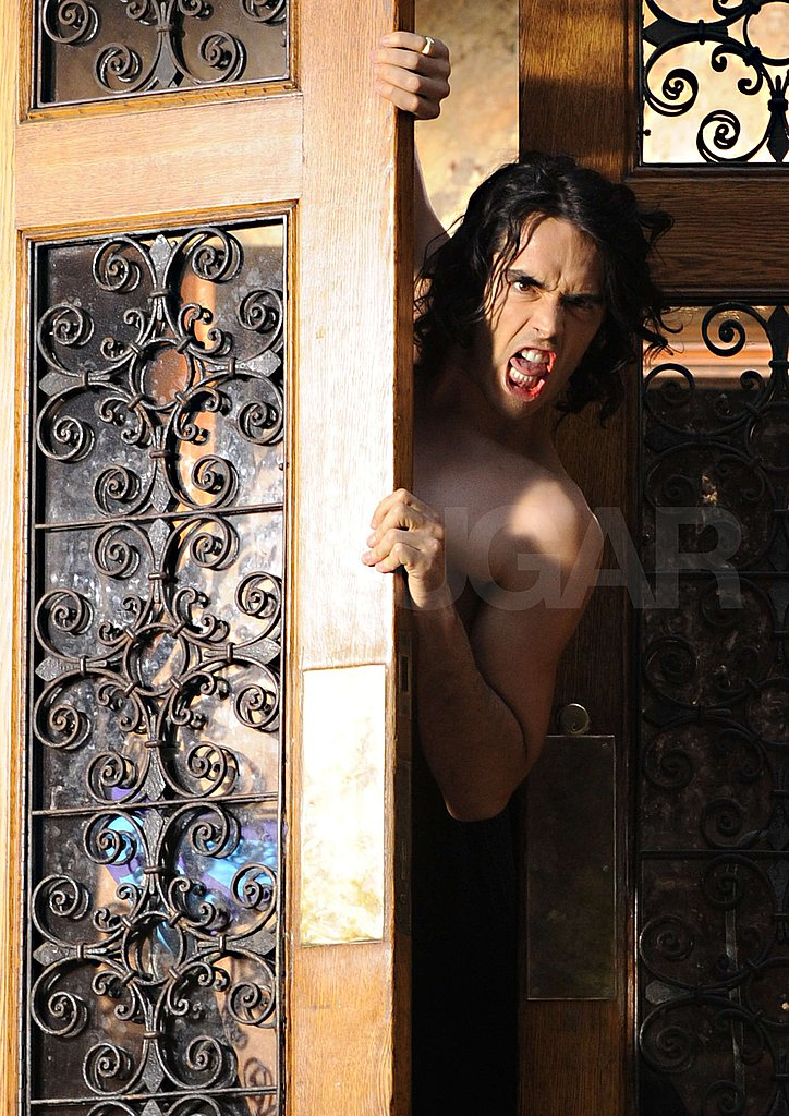 Pictures of Russell Brand on Set