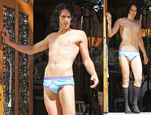 Pictures of Russell Brand in His Underwear Filming Arthur