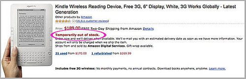 Amazon Kindle Out of Stock