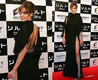 Angelina Jolie at Salt Japan Premiere in Backless Slashed Leg Dress 2010-07-27 17:00:00
