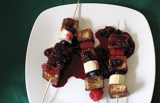 French Toast Skewers With Blueberry Sauce