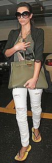 Kim Kardashian Carrying a Green Hermes Birkin Bag