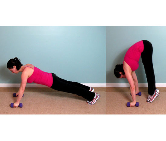 Shoulder and Calf Toning Plank to Pike
