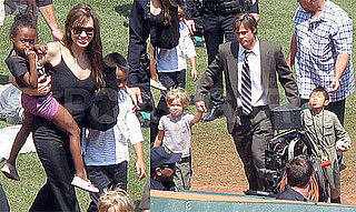 Pictures of Angelina Jolie and Brad Pitt With Shiloh, Zahara, Pax, and Maddox on the Moneyball Set