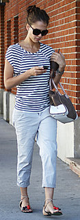 Jessica Alba Wearing Striped Tee and Khaki Pants in LA