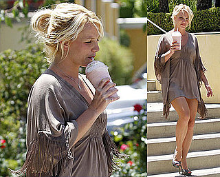 Pictures Of Britney Spears In A Mini Dress Getting a Smoothie