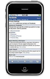 Facebook Privacy Controls on Mobile Website