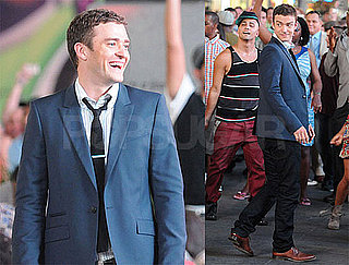 Pictures of Justin Timberlake and Mila Kunis on the Set of Friends With Benefits in NYC 2010-08-06 12:30:00