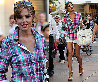Photos of Cheryl Cole Shopping in LA with White Handbag and Short Shorts