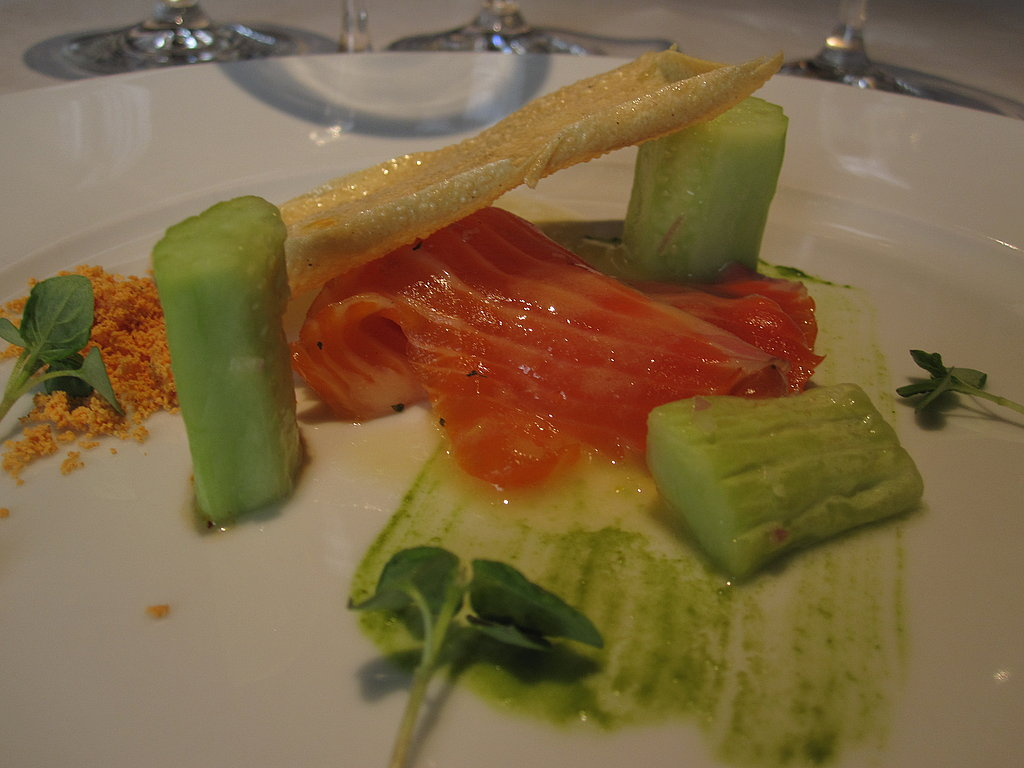 First course was a beautifully plated citrus shiso crudo and Armenian cucumber.