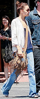 Nicole Richie Wearing Jeans and Fringe Bag in LA