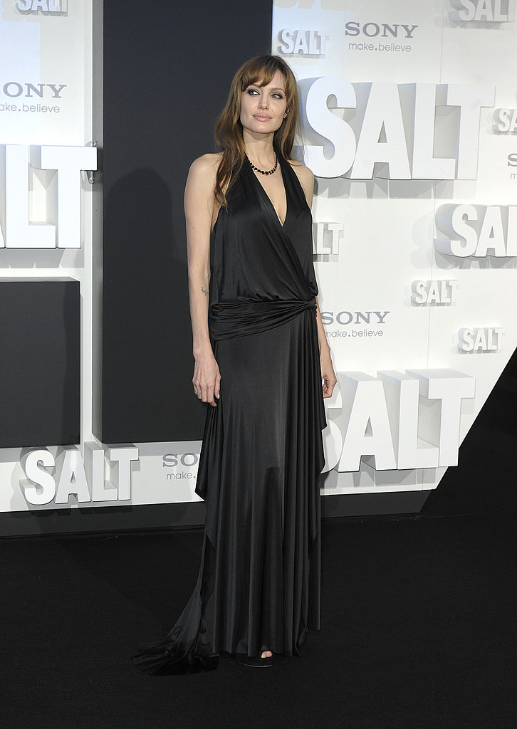 Angelina, statuesque in a slinky BCBG black gown.