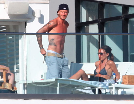 Pictures of David and Victoria Beckham at the beach