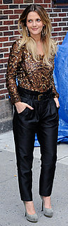 Drew Barrymore Wears Sequin Top and Black Pants to The Late Show