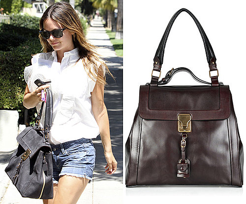 Photos of Rachel Bilson in LA with a Top Handle Bag with Hanging Details