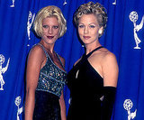 Tori Spelling and Jennie Garth dressed to the nines for their appearance in 1995.