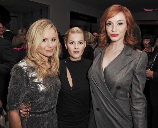 In honor of Holt Renfrew's New Calgary store launch in 2009, Kristen Bell, Elisha Cuthbert, and Christina Hendricks flew to Toronto to celebrate.
