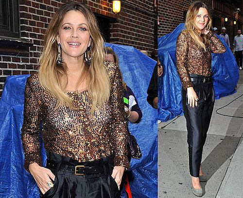 Pictures and Video of Drew Barrymore at the David Letterman Show For Going The Distance