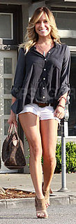 Kristin Cavallari Wears White Jean Shorts and Navy Top in LA