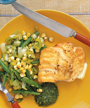 Cod With Beans, Corn, and Pesto Recipe