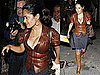 Pictures of Salma Hayek Leaving Dinner at Madeo in LA Wearing a Leather Jacket