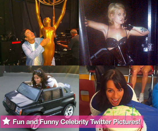 Jimmy Fallon, Kelly Osbourne, Courteney Cox, and Lea Michele in This Week's Fun and Funny Celebrity Twitter Pictures!