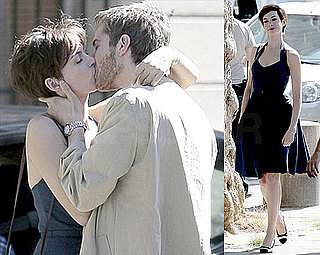 Pictures of Anne Hathaway Puckering Up to Jim Sturgess on Set