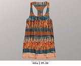 Tie-dye woven racerback tank dress with fringe.