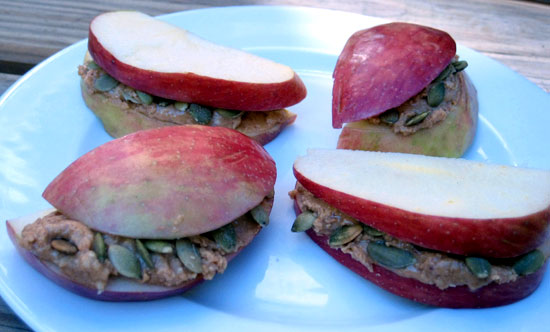 Apple, Peanut Butter, and Pumpkin Seed Stacks