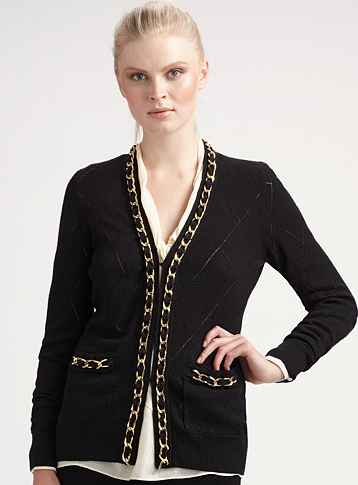 A chain-link cardigan is way more jazzy than a simple one. Shop this look.