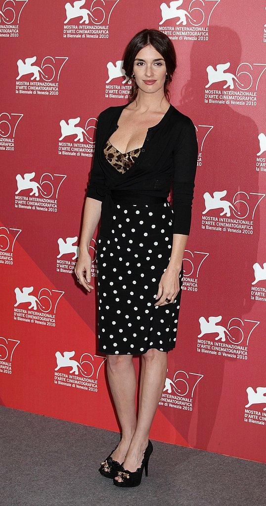 Paz Vega wore a sassy sweet Dolce & Gabbana ensemble at the Venice Film Festival. Love the combo of leopard and dots.