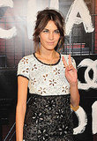 Alexa Chung flashes peace in flower-power Chanel.