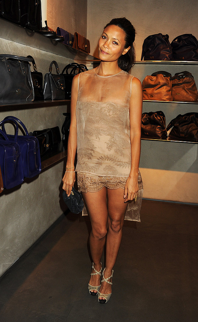 Thandie Newton (in Stella McCartney) proves that nude is super hot at Fashion's Night Out in London.