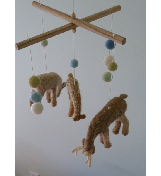 Felted Deer Mobile
