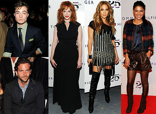 Beyonce, Jennifer Lopez, Ed Westwick and Jessica Szohr at 2011 Spring New York Fashion Week