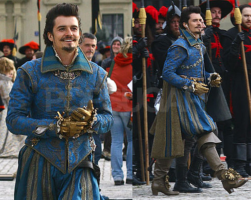 Pictures of Orlando Bloom Getting Musical on the Set of The Three Musketeers