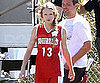 Slide Picture of Taylor Swift Wearing a Red Basketball Uniform in LA