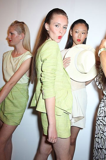 Besos! Kisses from backstage at Erin Fetherston.