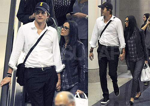 Pictures of Ashton Kutcher and Demi Moore Holding Hands Arriving Into LAX