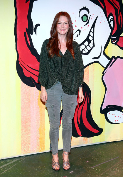 We've seen J Brand's cargos everywhere now, but Julianne Moore wears them in the most unique way yet.