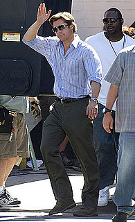 Pictures of Brad Pitt Waving While Filming Moneyball