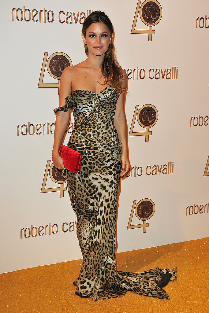 Always the eclectic-chic, Rachel Bilson mixes red and leopard for a festive, cool vibe.