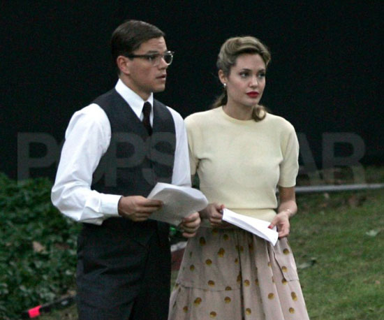 Angelina Jolie and Matt Damon wore vintage costumes rehearsing lines for The Good Shepherd on location in Manhasset, NY, in August 2005.