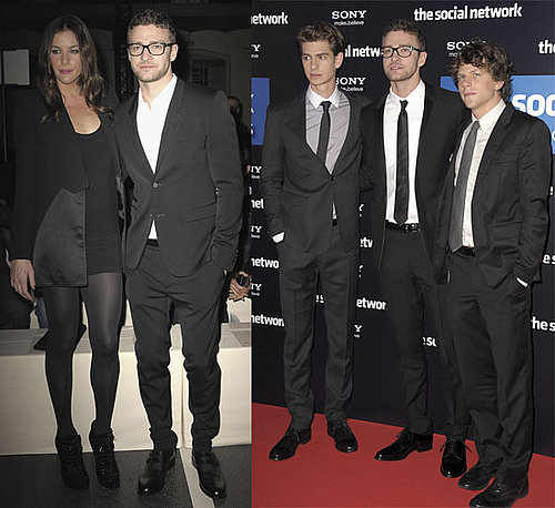 Justin Timberlake, Jesse Eisenberg and Andrew Garfield Promoting The Social Network in Paris