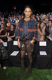 Jessica Szohr takes front row at Tommy Hilfiger in a look that's part prep, part rocker-chick — love the leather shorts!
