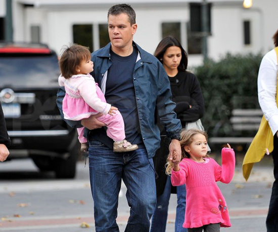 Matt Damon got a visit from Luciana Damon and their girls Isabella, Gia, and Alexia on the set of The Adjustment Bureau in October 2009.