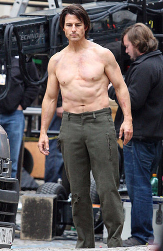 Pictures of Tom Cruise Performing Shirtless Stunts on the Set of Mission Impossible 4
