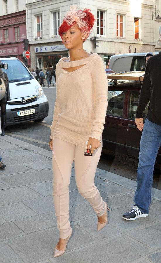 Rihanna in Paris Wearing Nude