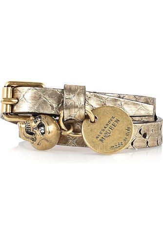 Alexander McQueen|Leather skull bracelet|NET-A-PORTER.COM