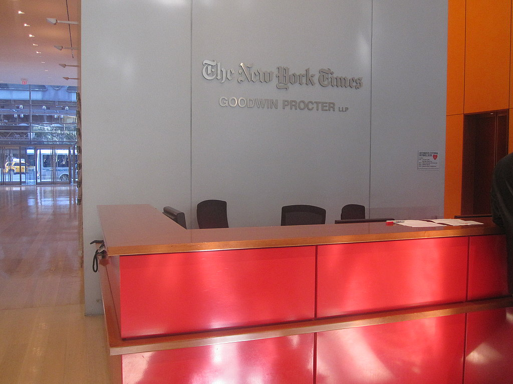 It was exciting to walk into The New York Times building!